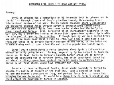 1983 CIA Document Reveals Plan To Destroy Syria, Foreshadows Current Crisis | Global Research – Centre for Research on Globalization