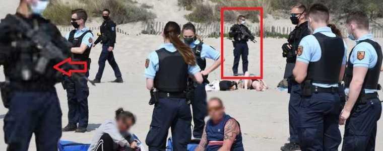 welkom-in-het-nieuwe-normaal:-met-machinegeweren-en-een-groot-contingent-politie-tegen-het-drinken-van-een-wijntje-op-een-frans-strand-–-frontnieuws