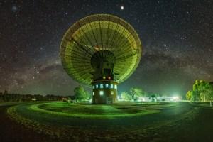Parkes Radio Telescope at night