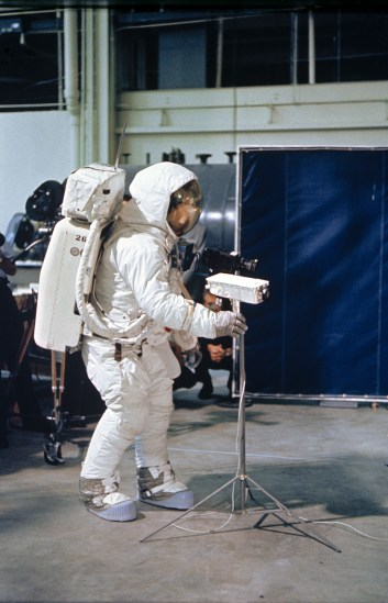 Neil Armstrong practises using the specially built Apollo 11 TV camera before the mission.