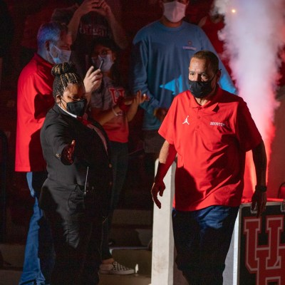 UH head coach Kelvin Sampson walks out the tunnel during the team's Final Four celebration at Fertitta Center on April 7. | Photo taken by Andy Yanez