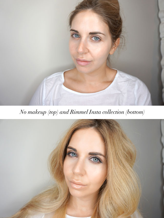 Before and after wearing Rimmel London Insta collection