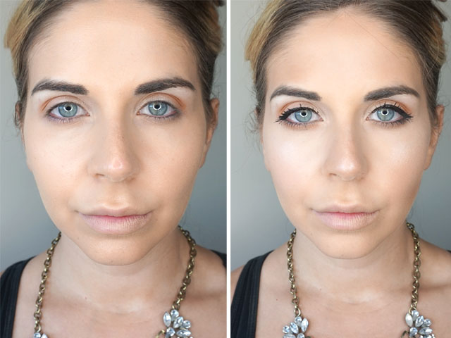 Before and after using the IT Cosmetics Superhero Mascara and Liner