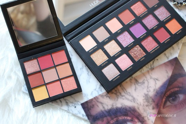 Huda Beauty Desert Dusk Eyeshadow palette and Coral Obsessions palette