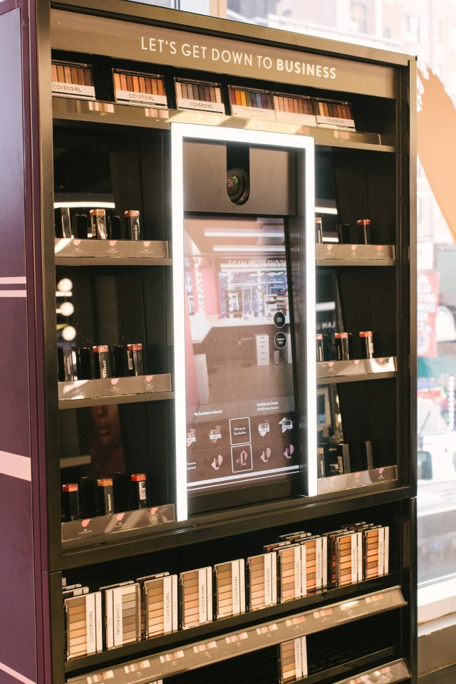 Virtual try on machines at COVERGIRL flagship store in NYC