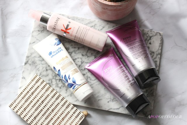 Hair products from Head & Shoulders, Joico, and Kerastase