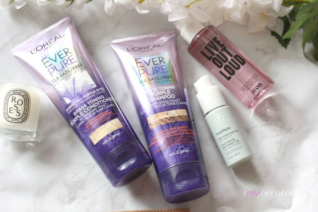 Hair products from L'Oreal Ever Pure, Arbonne, and Avon Live Out Loud hair fragrance