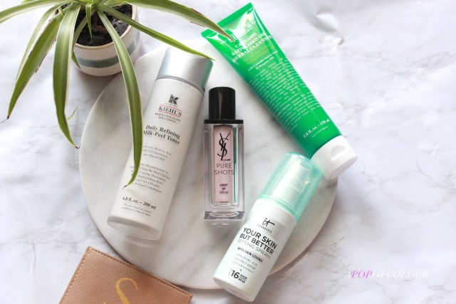 Kiehl's cleanser and toner, YSL Pure Shots, and IT Cosmetics Your Skin But Better setting spray