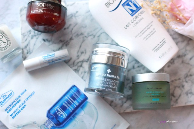 Skincare from IT Cosmetics, Dr. Belmeur, Biotherm, and skinceuticals