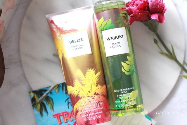 Bath & Body Works Waikiki body spray and Belize body lotion