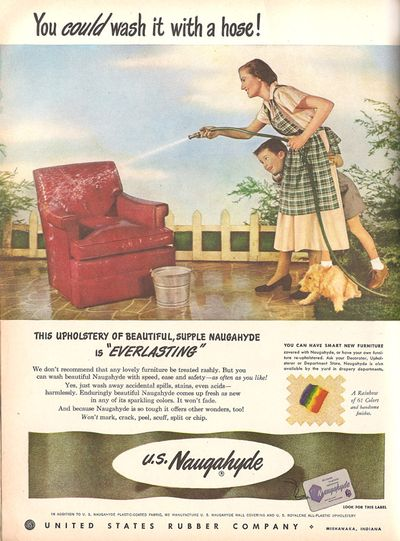 Vintage Decor Ad  of  Upholstery you can hose down! - A Pop