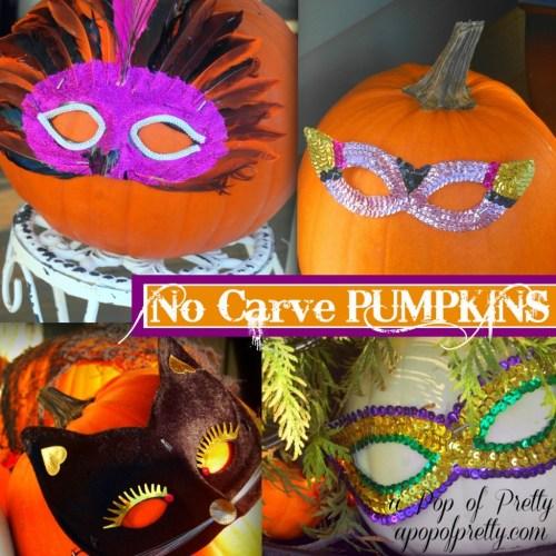 Halloween No Carve Pumpkins with Masks