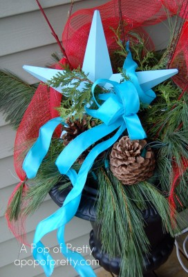 christmas decorating red turquoise urn