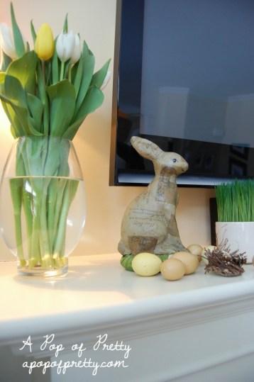 Easter mantel decorating