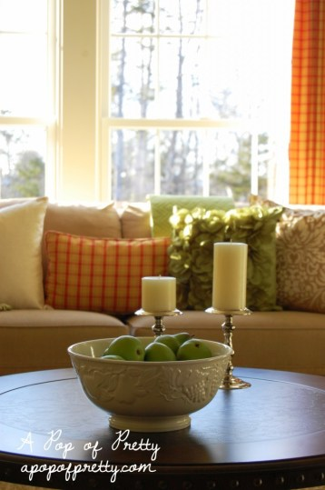 cottage style living room - cream, red and apple green