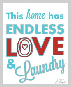 Free printable - Love and Laundry - Aqua and red
