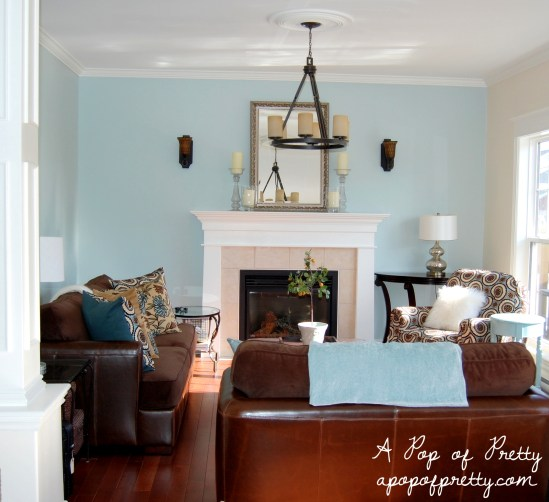 Benjamin Moore Woodlawn Blue Living Room