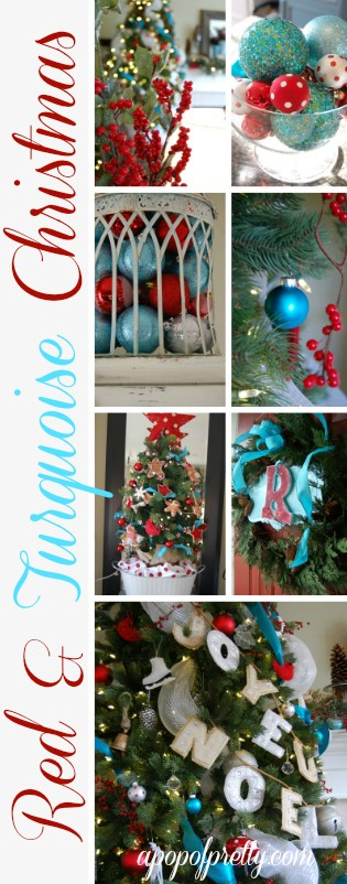 Red and Turquoise Christmas Decor