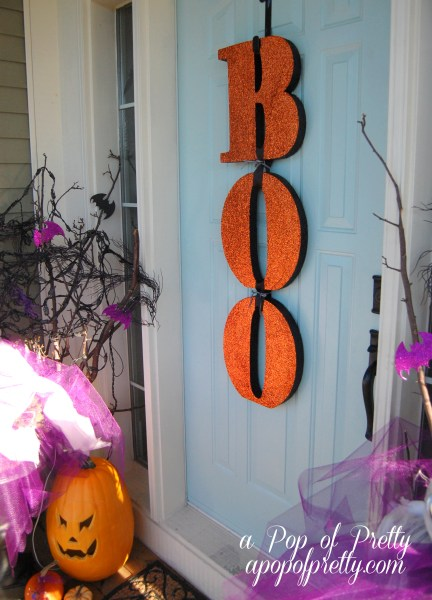 Boo letters Halloween door decor
