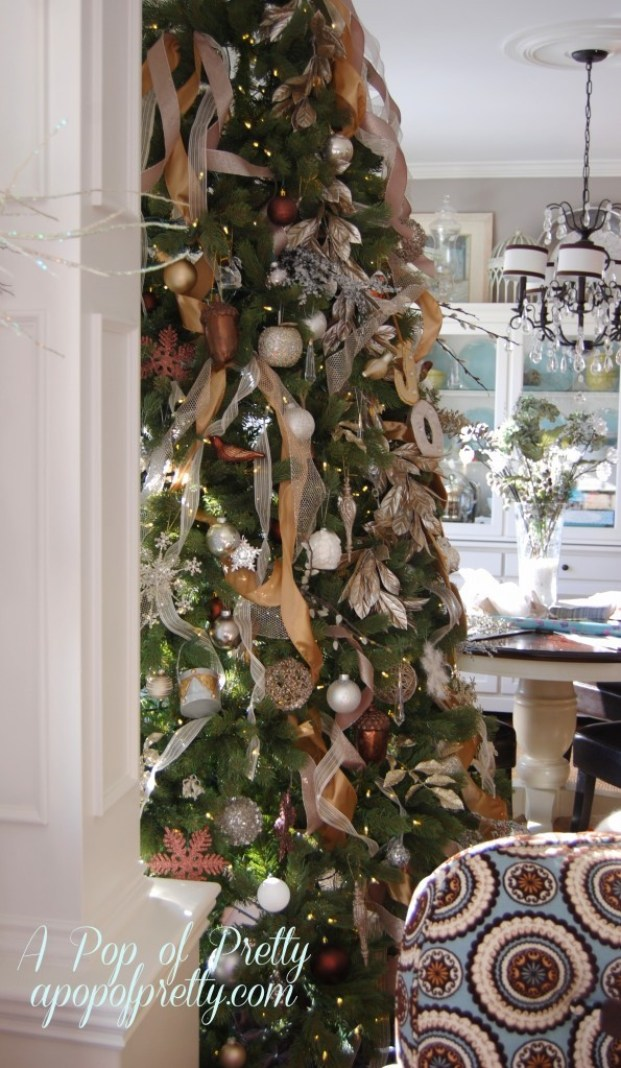 How to add ribbon to a tree part two a pop of pretty How do i decorate my christmas tree with ribbon