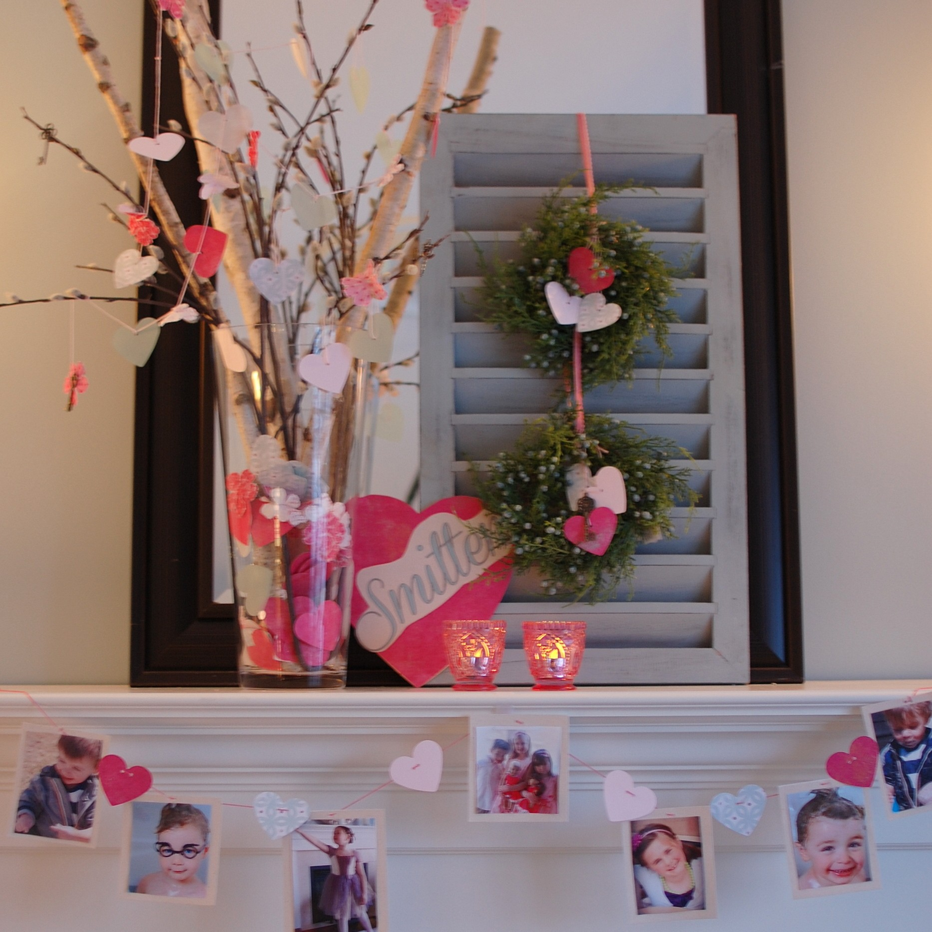 "Canada Home Decor Ideas: Valentine's Day Decorating Ideas: ""Smitten"" Photo Mantel"