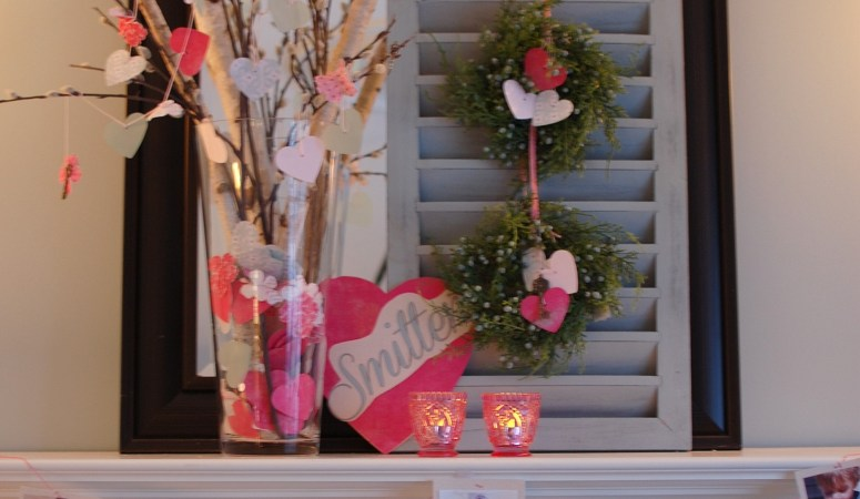 "Valentine's Day Decorating Ideas: ""Smitten"" Photo Mantel"