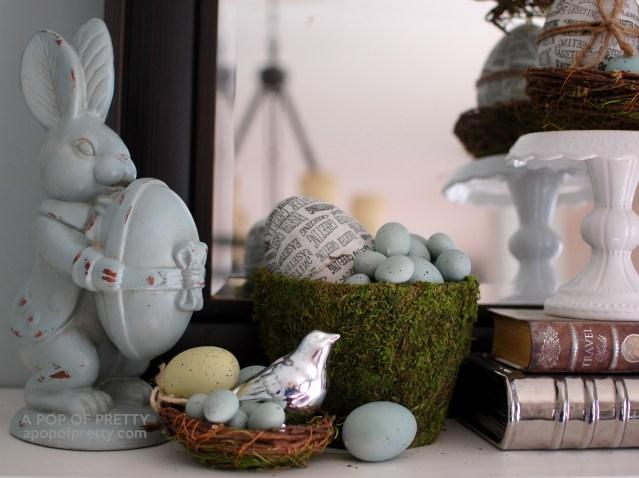 blue vintage Easter bunny