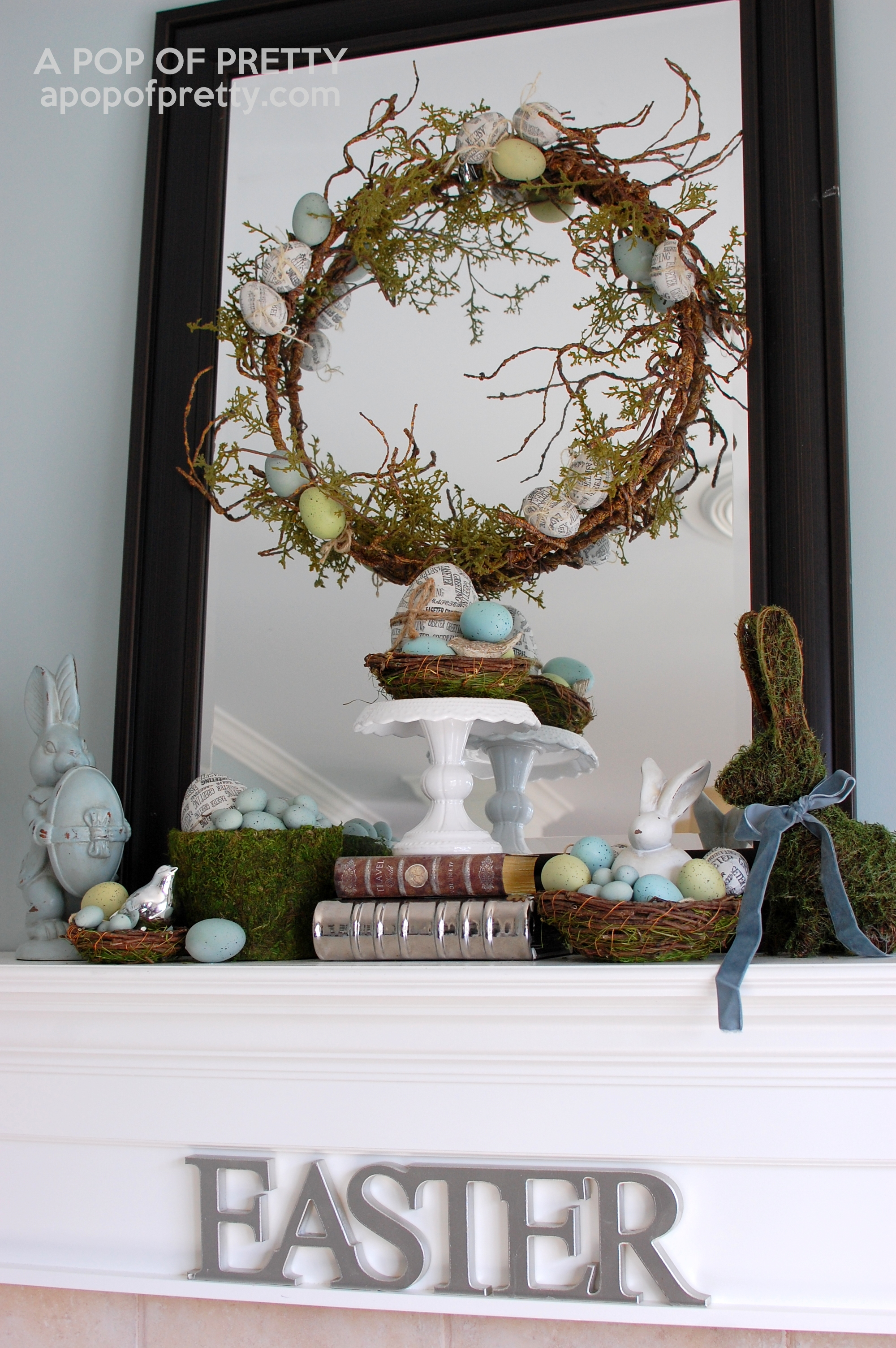 Easter decorating ideas Easter mantel A Pop of Pretty Blog