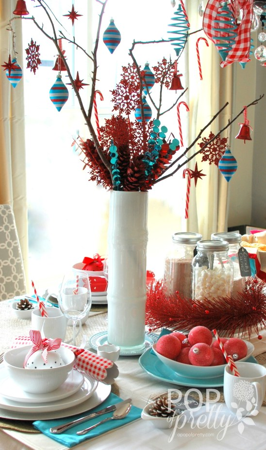 red and turquoise Christmas centerpiece