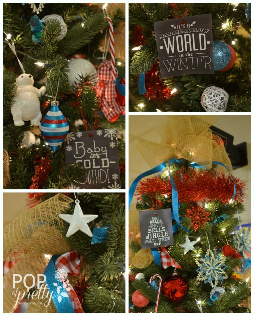 decorate red and turquoise Christmas tree
