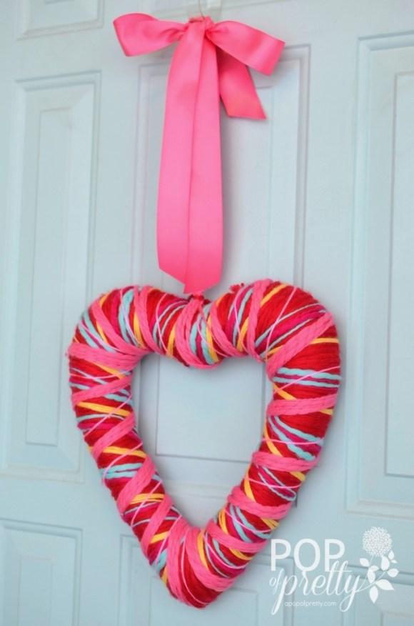 Valentines Ideas yarn wreath