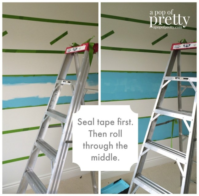 how to paint wall stripes seal tape