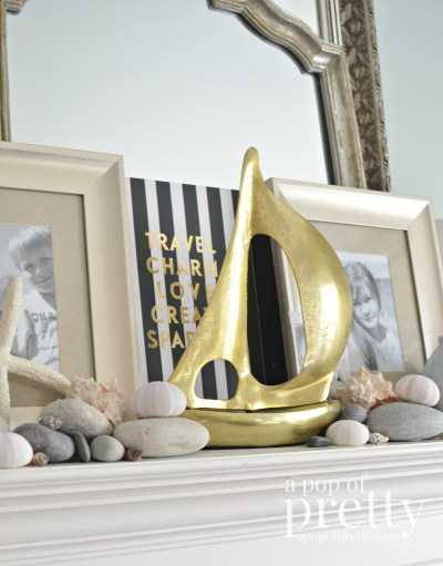 Decorating a mantel that lasts all year - Summer Beach Mantel
