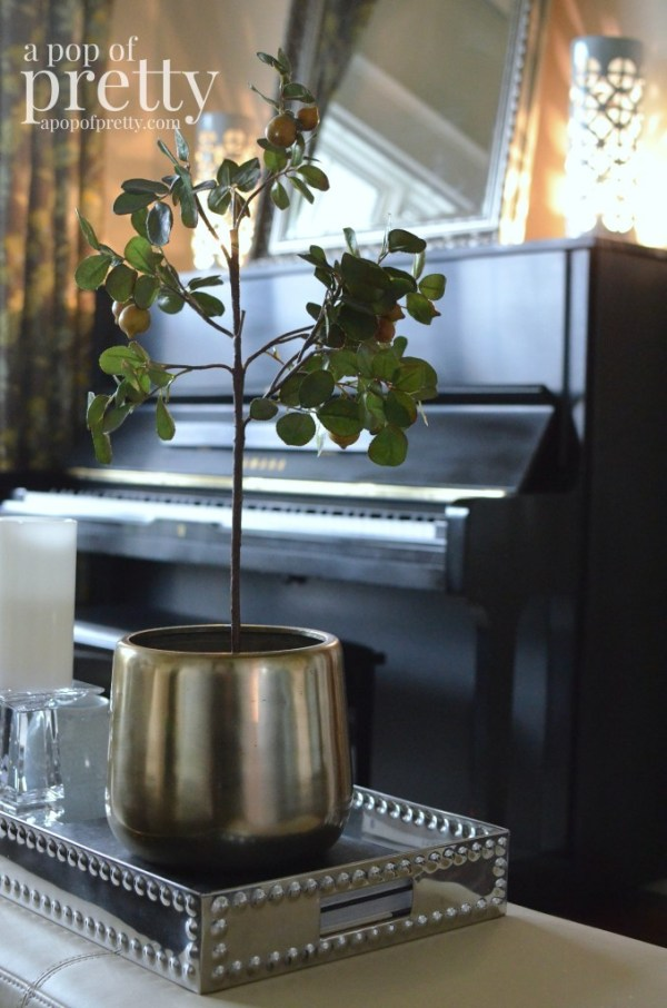 Canadian bloggers home tour - a pop of pretty - living room decor piano