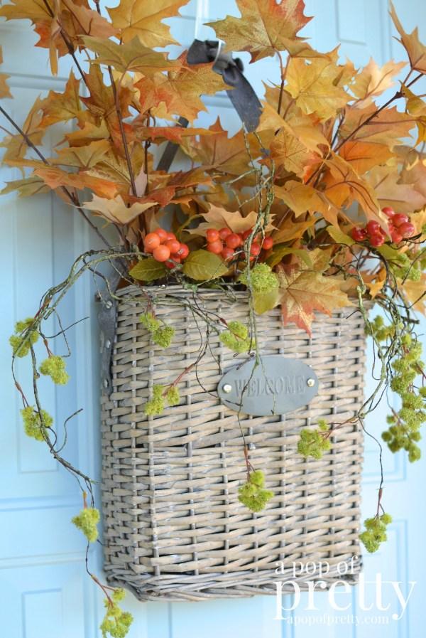 Fall door decor basket