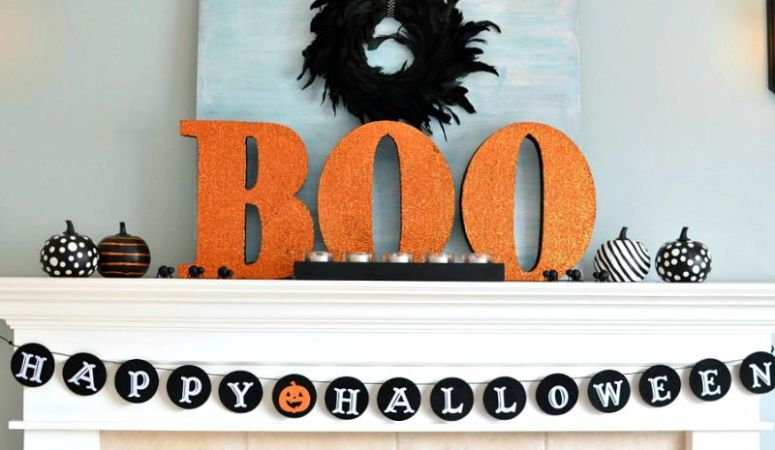 Kid Friendly Halloween Decorating: Big BOO Halloween Mantel