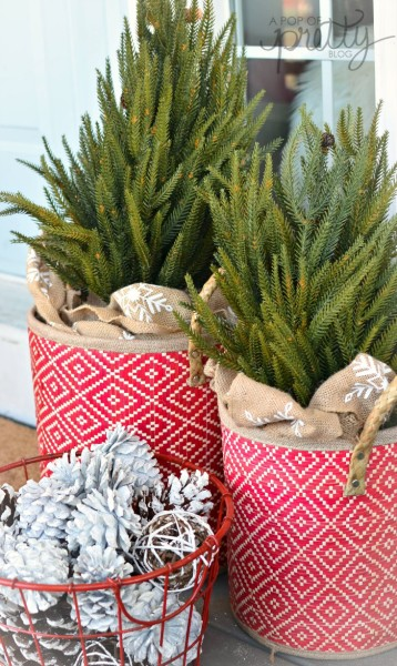 cottage Christmas - trees in baskets