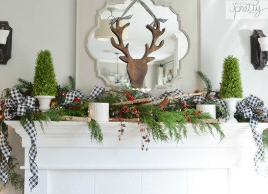 Traditional plaid cottage Christmas mantel decorating