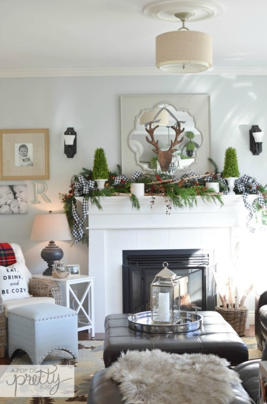 Red Plaid Christmas Decor Ideas - Fireplace Mantel