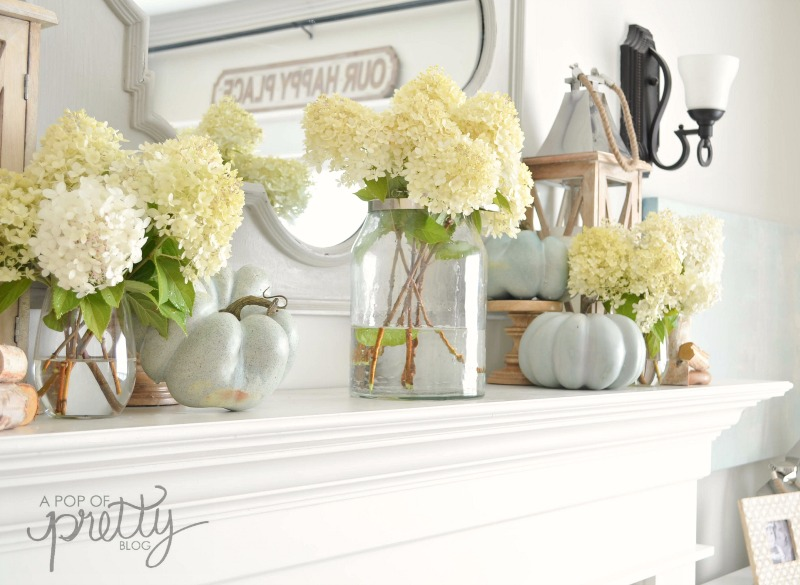 fall decor hydrangeas mantel