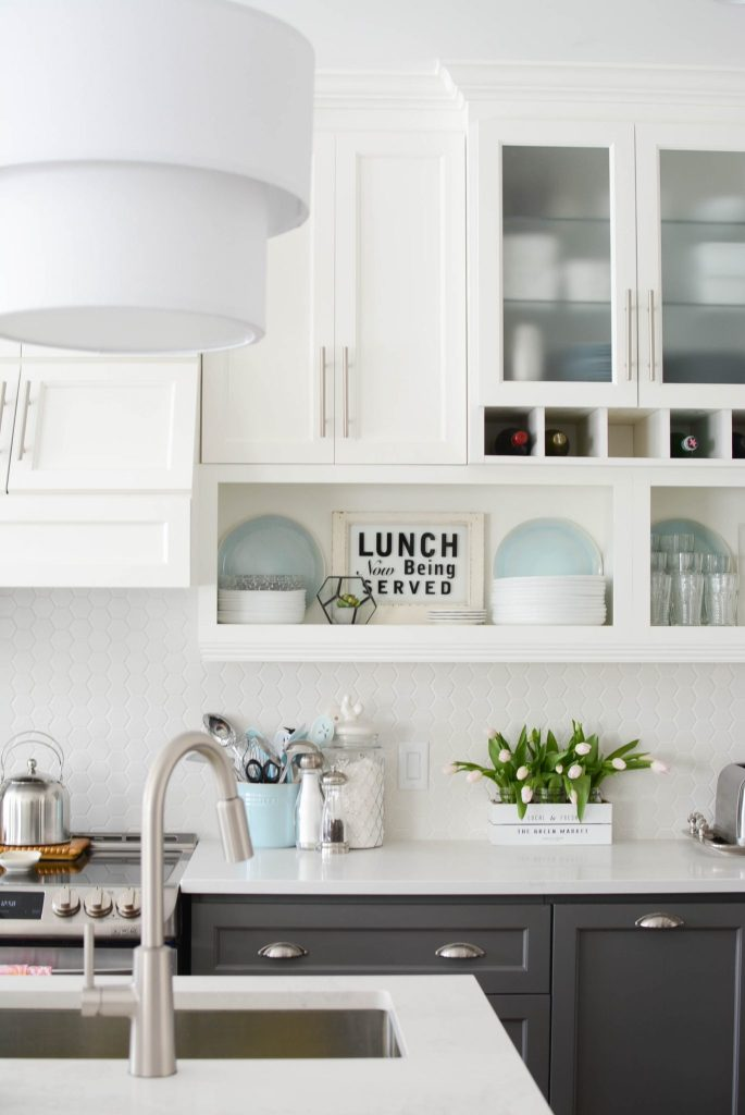 kitchen renovation white hex tile
