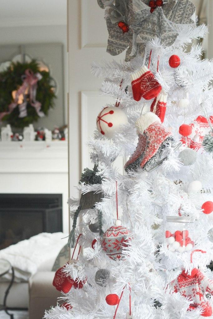 Red grey white Nordic Christmas decor