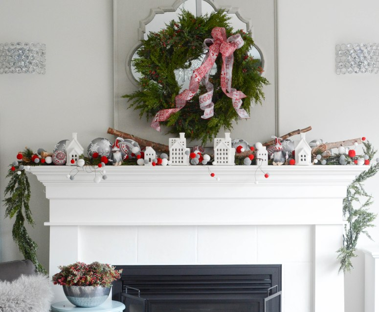 Nordic Christmas fireplace display