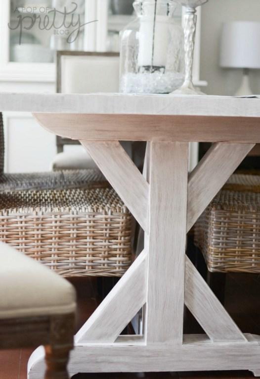 whitewashed trestle dining table