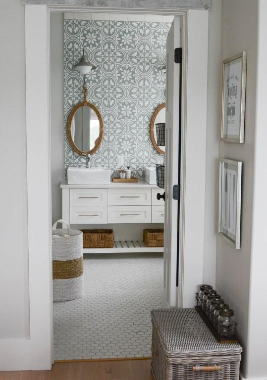 Modern coastal bathroom rope mirrors