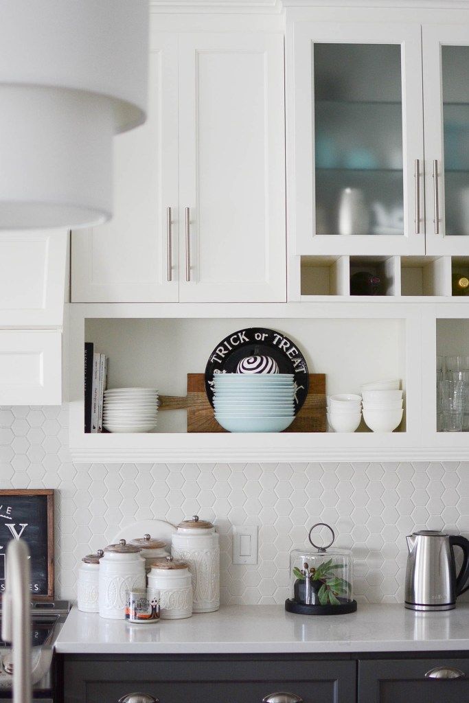 Two toned kitchen cabinets with open shelving