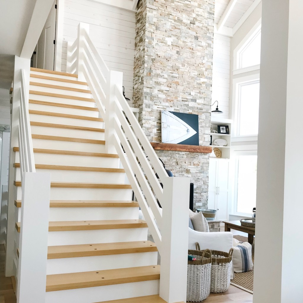 modern coastal style cottage staircase
