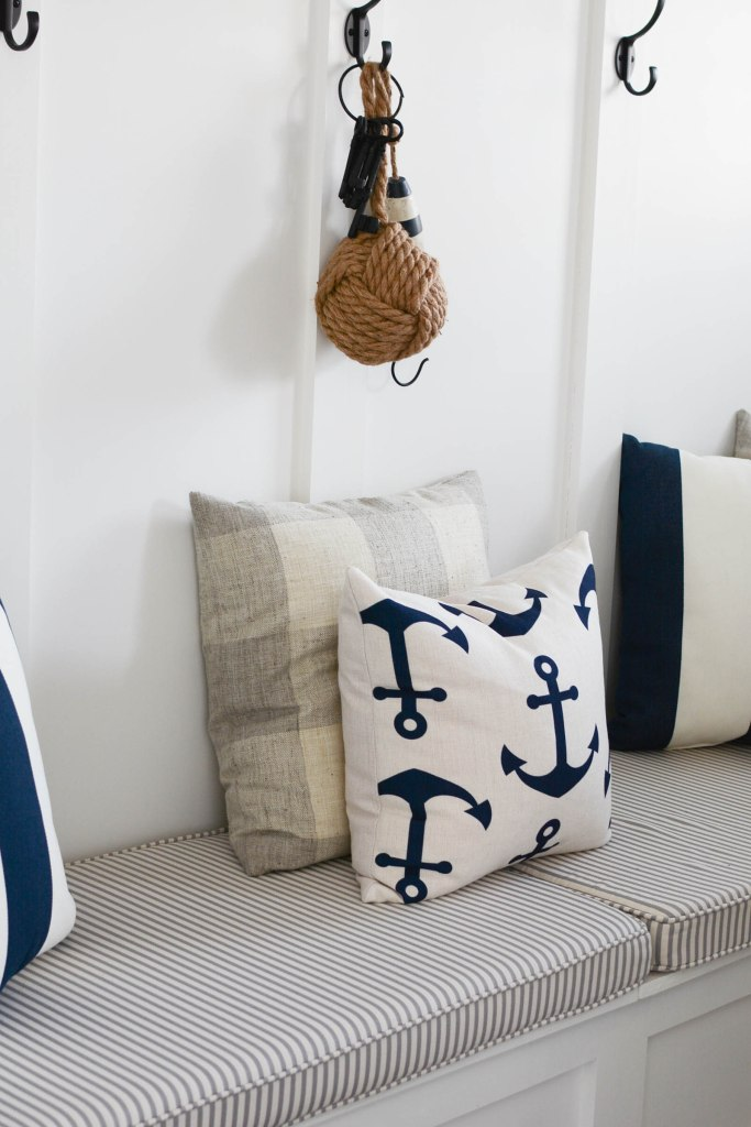 Coastal decor pillow cover with anchors JanieJute