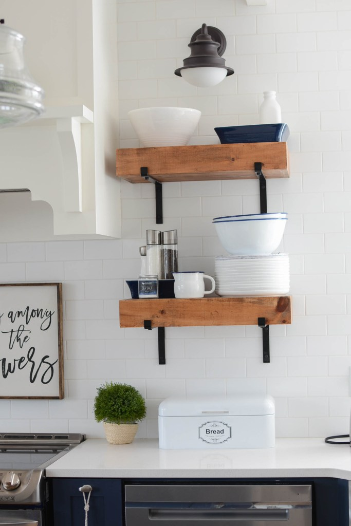Coastal farmhouse kitchen open shelves