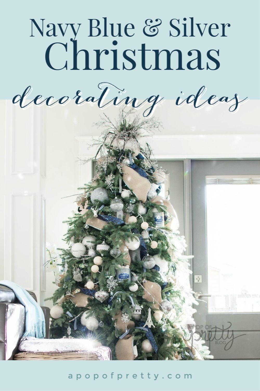 Navy Blue Christmas Decor Ideas (Home Tour) , A Pop of